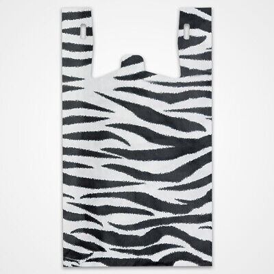 Zebra Print Plastic T-shirt Bags 11.5 W X 6 D X 21.5 H Inches - Box Of 500