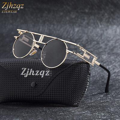 New Vintage Polarized Steampunk Sunglasses Fashion Round Mirrored Retro Glasses](Steampunk Fashion Male)