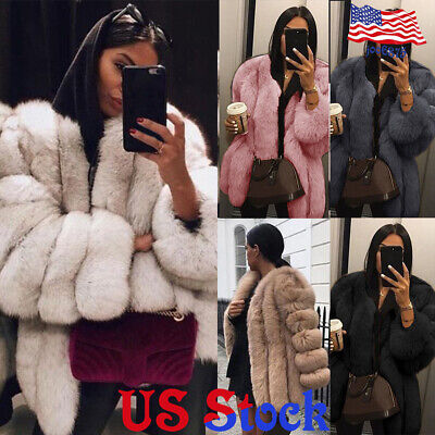 Women's Winter Fluffy Faux Fur Thick Jacket Warm Outerwear Coat Overcoat Tops