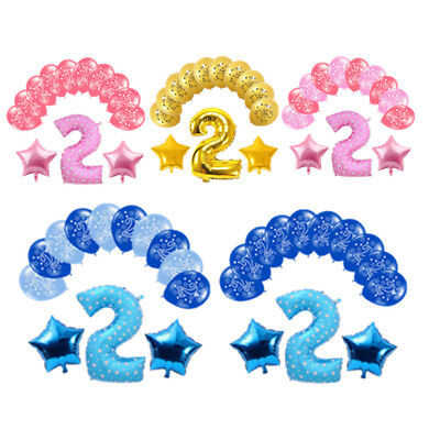 13PCS Pink Blue Number 2 Foil Air Balloons Set Baby Boy Girl Happy Birthday - Pink Number 2