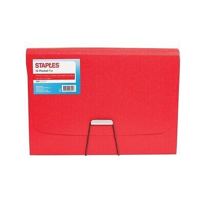 Staples Plastic 13 Pocket Reinforced Expanding Folder Letter Size Red 2806371