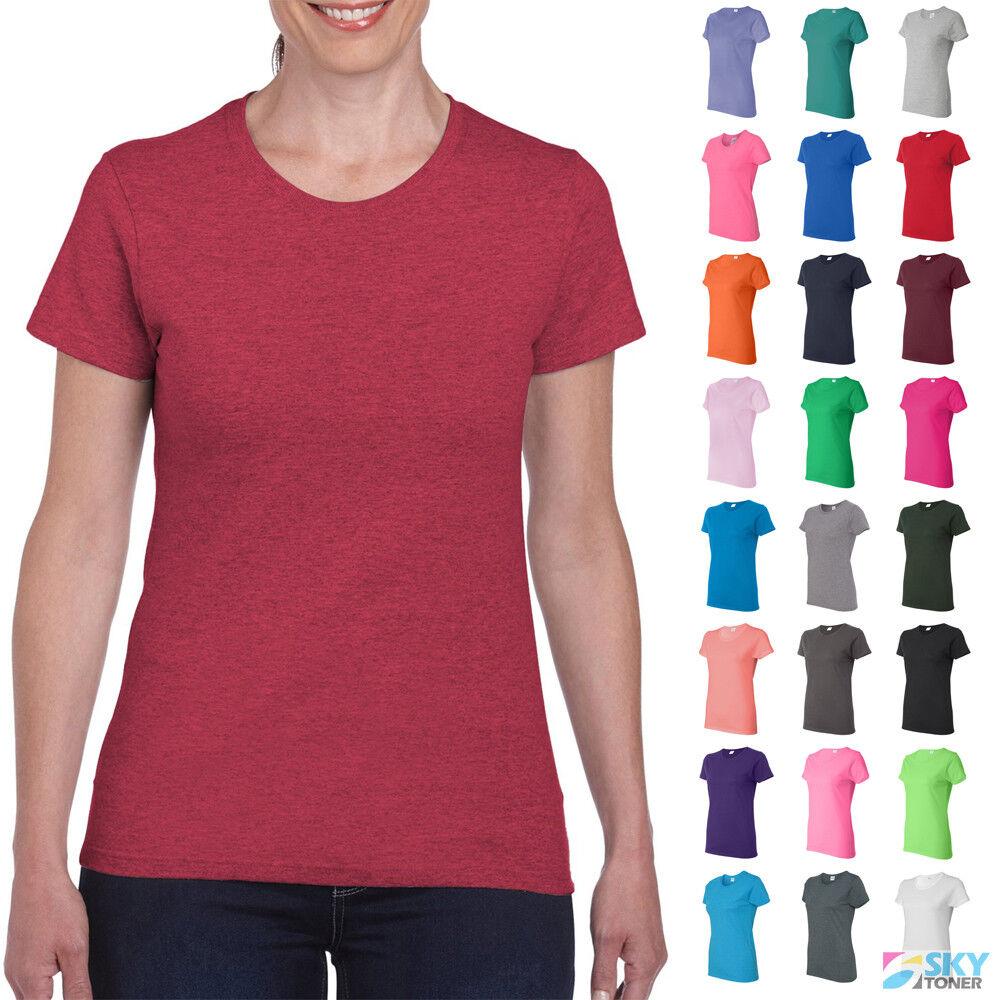 Gildan Women's Heavy Cotton Short Sleeve T-Shirt Blank Solid