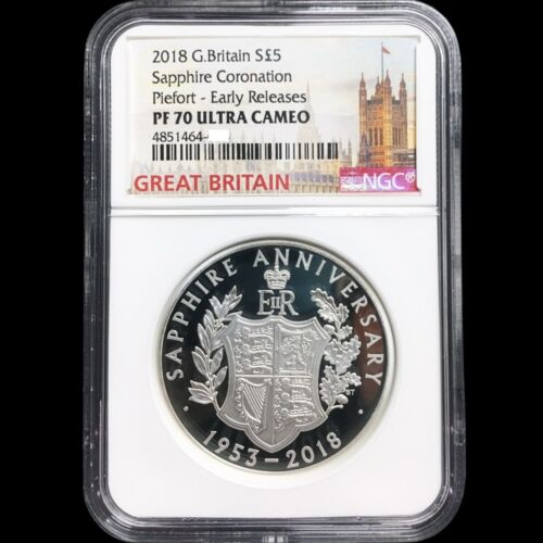 UK 2018 Great Britain Sapphire Coronation £5 Silver Proof Piedfort Coin NGC PF70