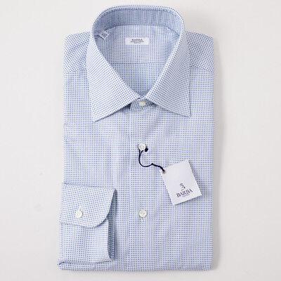 NWT $350 BARBA NAPOLI Green and Blue Dot Pattern Cotton Dress Shirt 15.75 x 36 Cotton Dotted Pattern Dress Shirt
