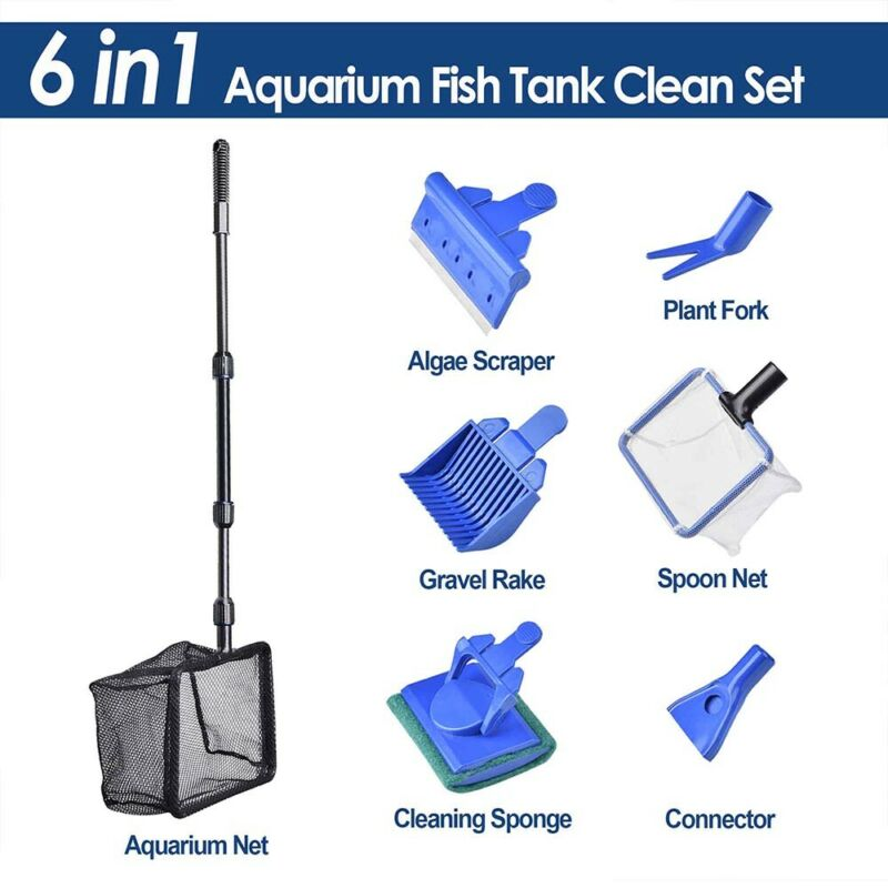 6 in 1 Aquarium Fish Tank Cleaning Tool Set Glass Brush Fishnet Magnetic Cleaner