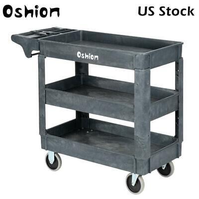 Small 3 Shelf Plastic Utility Service Cart Rubber Casters 550lb Us