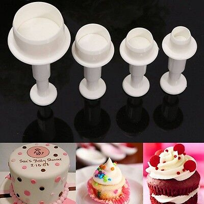 4Pcs  Sugar Plunger Round Circle Cookie Cake Cutter Mold Fondant Craft Decor (Sugar Cookie Decorating)