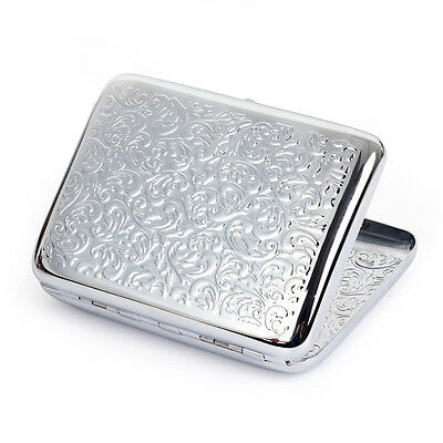 New Silver embossed arabesques Cigarette Case Holds 16 Cigarettes