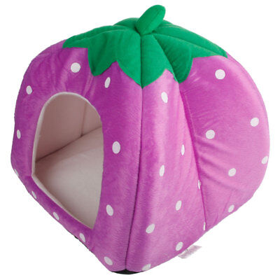 Soft Strawberry Pet Cat Bed House Kennel Doggy Warm Cushion Basket Purple S