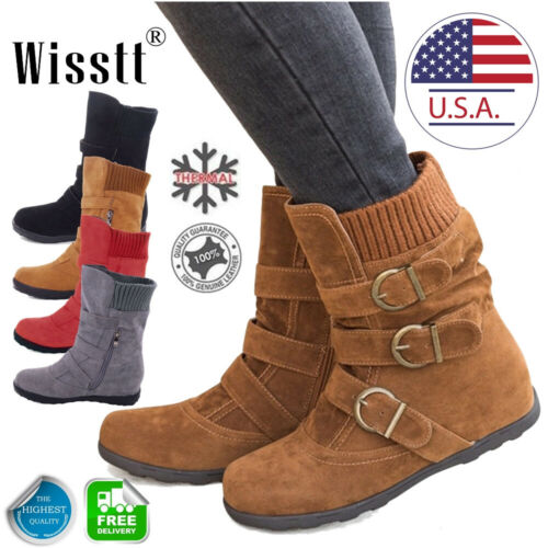 Womens Ladies Winter Warm Snow Ankle Boots Fur Lined Buckle
