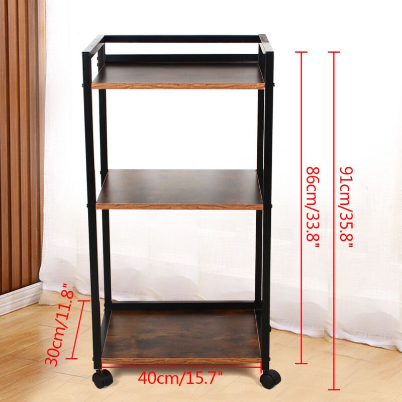3 Tier Contemporary Industrial Bookshelf/Shelving Unit With Wheels Storage Rack