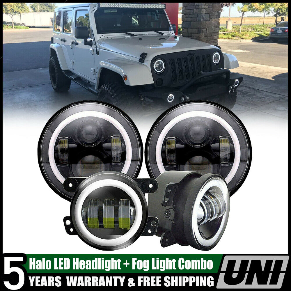 """LED Black 7/"""" Round Headlight Fog Light Kit Combo for Wrangler JK 2007-2017"""