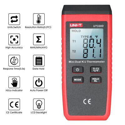 Uni-t Ut320d Mini Lcd Thermometer 2-channel Type Kj Thermocouple Sensor
