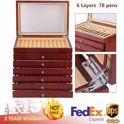 Fountain Pen Wooden Plexiglass Display Case Organizer Storage Collector Box 78