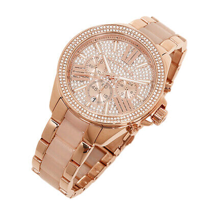 100% New Michael Kors Rose Gold Blush Chrono Womens Glitz Stainless Watch MK6096 (Rose Gold Michael Kor Watch)
