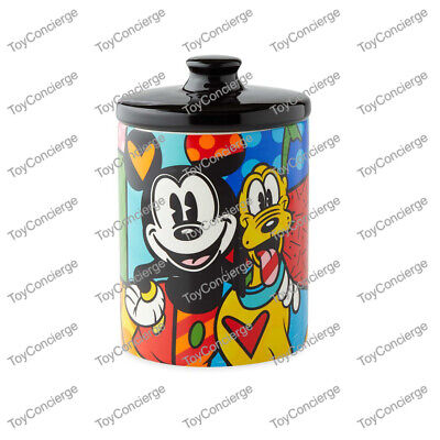DISNEY PARKS BRITTO KITCHEN CANISTER - MICKEY MOUSE & PLUTO Small COOKIE JAR NEW