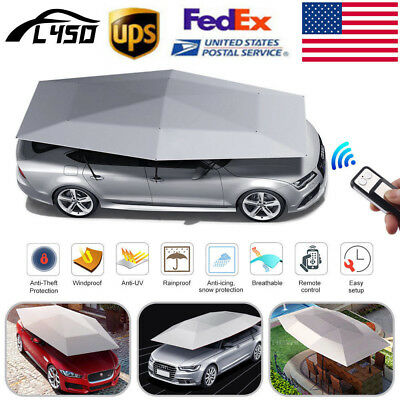 US Automatic Car Tent Cover Umbrella Cover Sun Shade Waterproof Universal Gray