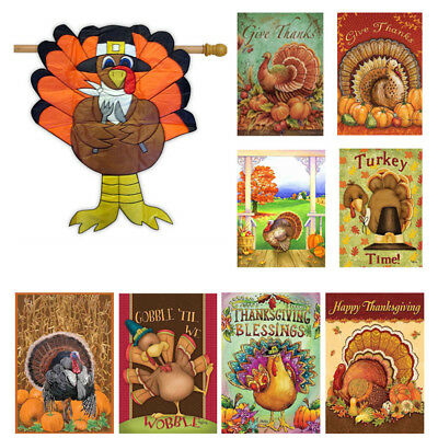Thanksgiving Day Garden Flags House Decor Mini Yard Banner 12'' x 18'' Flag New