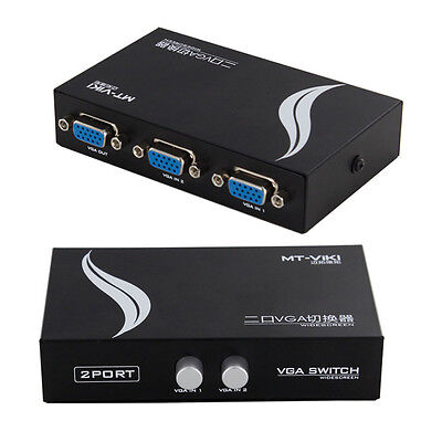 2 in 1 out VGA SVGA 2 Port Sharing Switch Select Box for LCD PC TV Monitor Video