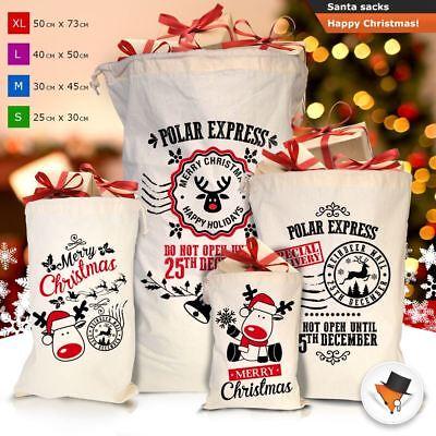 Large Santa Sack Father Christmas Bag For Presents Gifts XMAS Cotton Stocking  - Large Christmas Bags For Presents