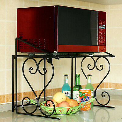 Microwave Oven Rack Kitchen Organizer Counter Cabinet Storage Sturdy Metal Shelf