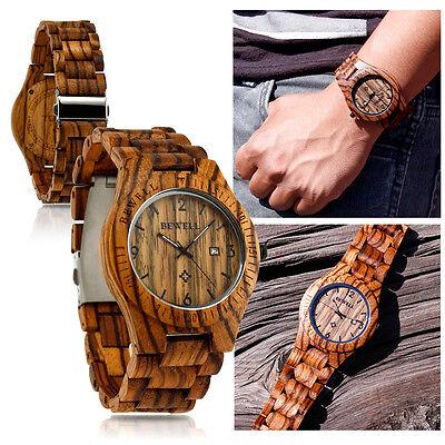 Fashion BEWELL Wood Watch Wooden Quartz Date Display Men