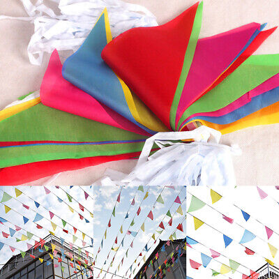 Multi Color Triangle Flags String Banner Bunting Home Party Garden Decor Supply