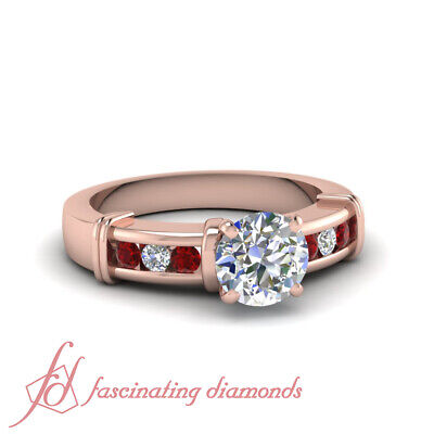 1.25 Carat Channel Set Round Cut Diamond And Ruby Engagement Rings GIA Certified
