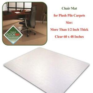 NEW Floortex Ultimat Polycarbonate Chair Mat for Plush Pile Carpets More Than 1/2 Inch Thick, Clear 60 x 48 Inches, R...