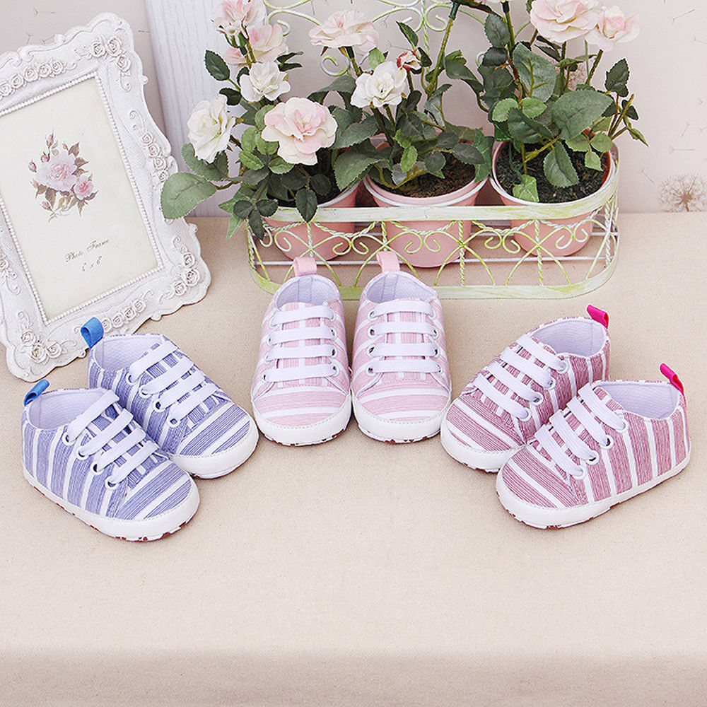 Newborn Toddler Baby Stripe Girls Boys Soft Prewalker Simple Casual Flats Shoes