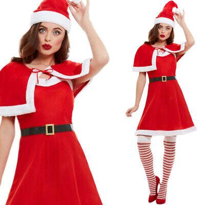 Damen Santa Kleid Umhang Hut Günstig Weihnachten - Günstige Damen Kostüm