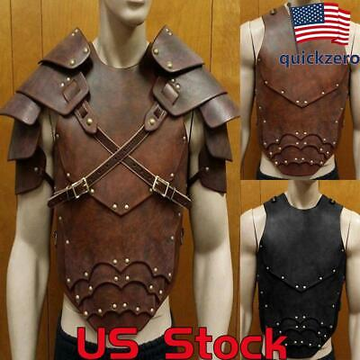 Men's Fantasy Halloween Costumes (Unisex Vintage Leather Armor Men Fantasy Cosplay Halloween Costume)