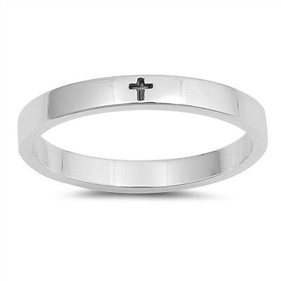 Little Engraved Cross Band .925 Sterling Silver Ring Sizes -