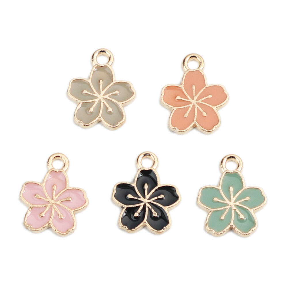 20PCS Mixed Assorted Enamel Alloy Daisy Flower Charms Pendant DIY Accessories