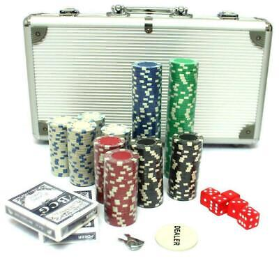 300 Piece Poker Set with Aluminum Carrying Case 11.5g weight 5 red color dice 11.5g Dice Poker Set