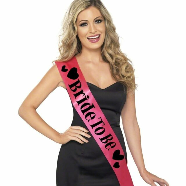BRIDE TO BE PINK SASH WITH BLACK LETTERING ladies womens hen night party