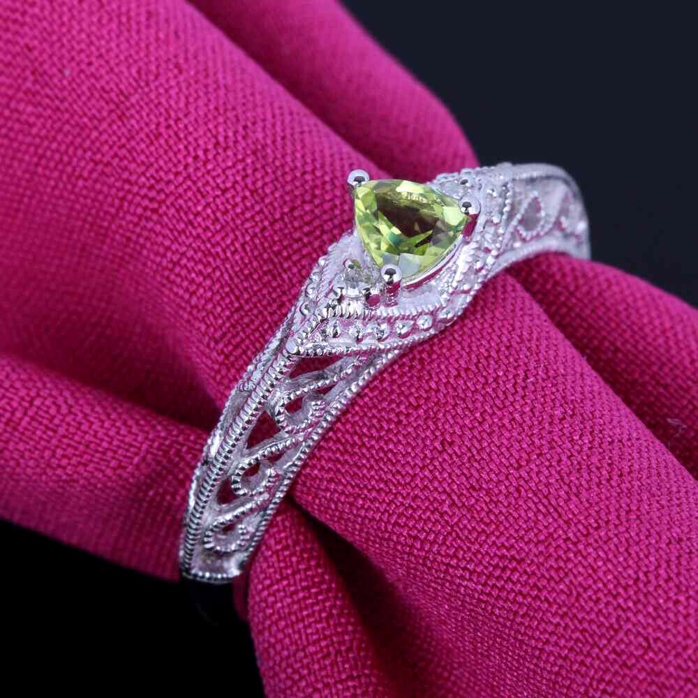 Solid 14K White Gold Pave Peridot Diamonds Engagement Wedding Ring ...