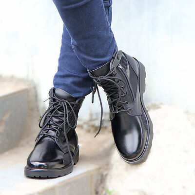 Meshed Cool Security Desert Leather Boots Black Duty Track Footwear 6.5~12