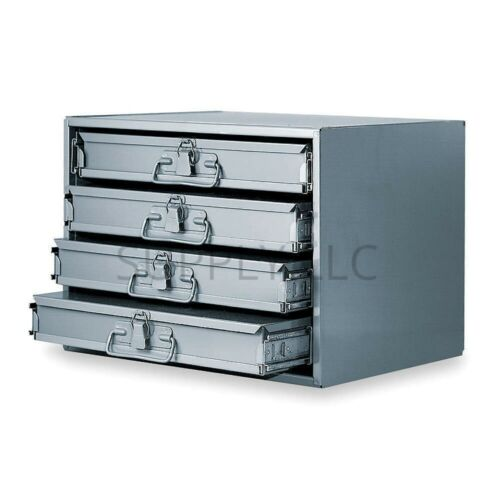 METAL 12 HOLE STORAGE TRAY BOLTS NUTS CABINET & SLIDING RACK W/ FOUR DRAWERS