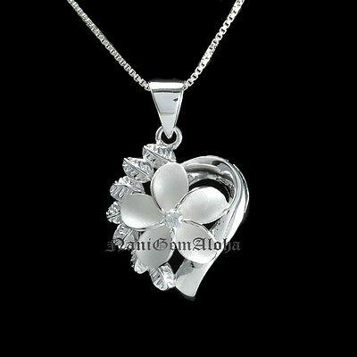 (Hawaiian 925 Sterling Silver  Heart  Flower 15mm Plumeria Flower Pendant CZ)