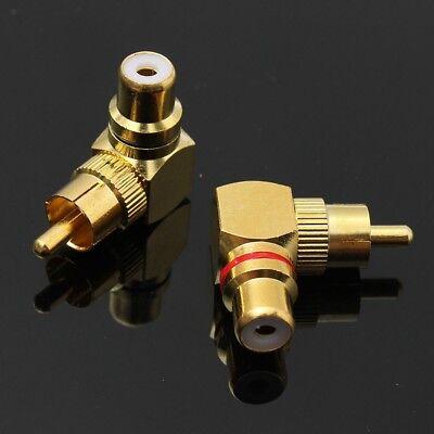 Rca Angular Directo Conector Plug Adaptadores Macho a Hembra 90° Dorado Oro M/F comprar usado  Enviando para Brazil