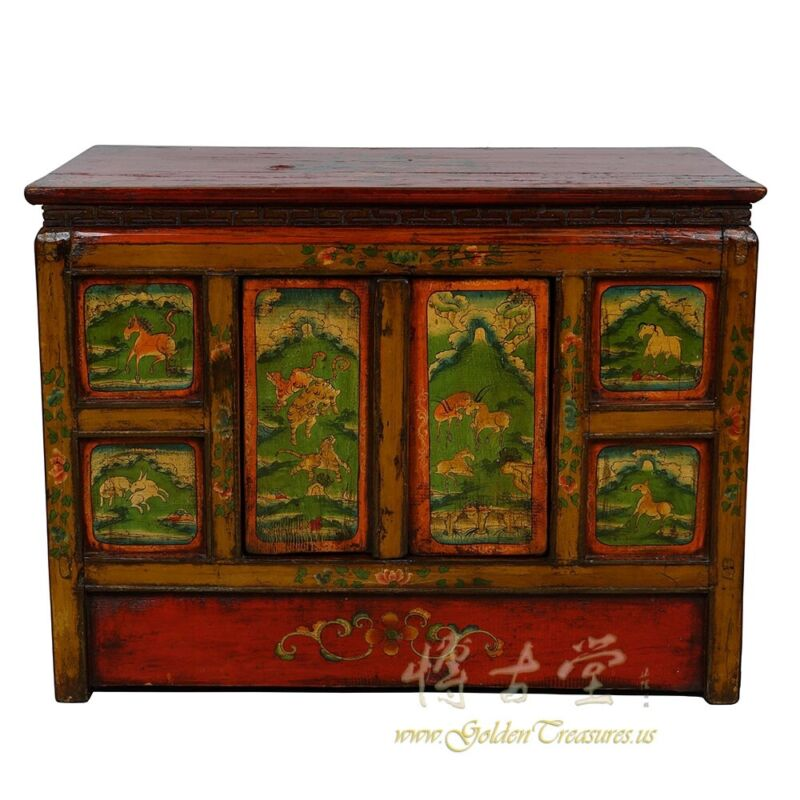 Antique Tibetan Colorful Chest, Coffee Table