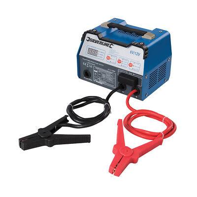 Silverline Automático Arrancador de Batería Cargador 12A 6/12V 8-180Ah Capacidad