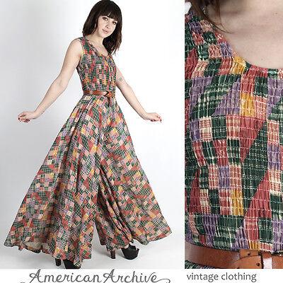 Vintage 70s Patchwork Print Jumpsuit Floral Bell Bottom Palazzo Boho Playsuit M