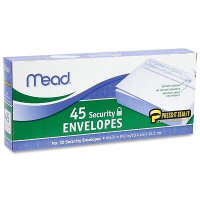 Mead No.10 Envelopes Press-it Seal-it 4-18 X 9-12 Inches White 45 Ea 2pk