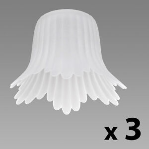 Set of 3 Frosted White Glass Flower Petal Replacement Ceiling Light Lamp Shades
