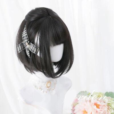 Anime For Costume Vogue Women Lolita  Natural Black BoBo Short Cosplay - Black Wig Costumes