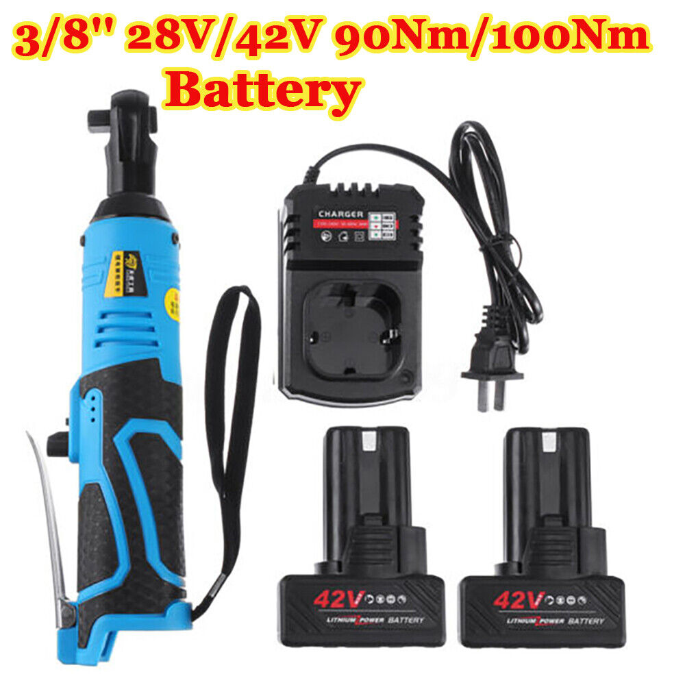 Charger US Battery 3//8/'/' 90° Cordless Electric Ratchet Wrench Power Tool Set