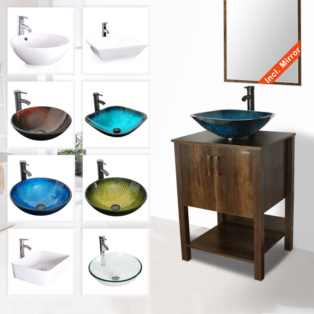"24"" Bathroom Vanity Cabinet W/ Mirror Vessel Sink Faucet Dra"