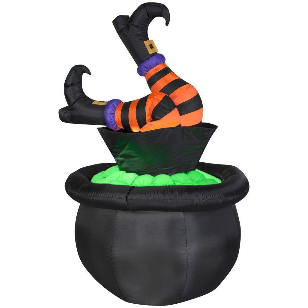 5 Ft. Animated Inflatable Witch Legs In Cauldron Outdoor Halloween Yard Decor